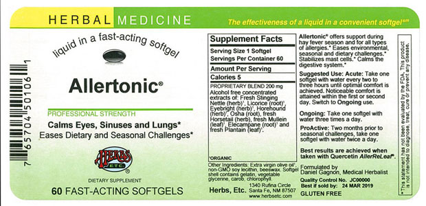 Allertonic 60 ct Supplement Facts