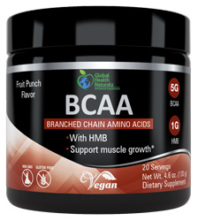 BCAA Fruit Punch 20 Servings by Global Health Naturals