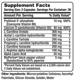 Carnitine Complex Supplement Facts