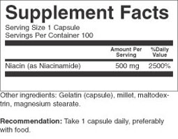 Niacinamide 500 mg supplement facts
